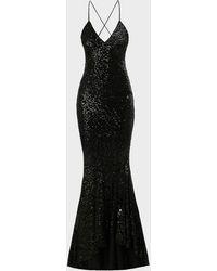 Norma Kamali Sequinned Mermaid Fishtail Gown - Black