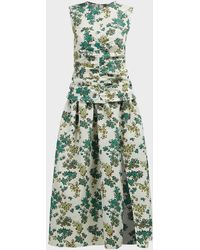 Victoria, Victoria Beckham Ruched Floral-print Cloqué Midi Dress - Green