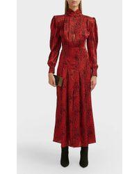 Alessandra Rich Leopard-jacquard Silk Dress - Red