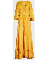Costarellos Bessa Belted Lace-detailed Gown - Yellow