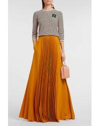 Rochas Pleated Silk Crepe De Chine Skirt - Orange
