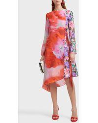 MSGM - Two Prints Silk Dress - Lyst