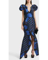 Ronald Van Der Kemp Sculptural Silk-blend Wrap Gown - Blue