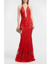 Galvan London Volcan Corded Lace Gown - Red