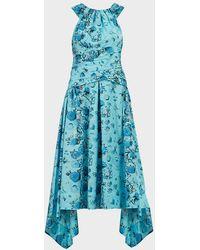 Peter Pilotto Floral Halterneck Cotton Midi Dress - Blue