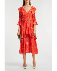 Borgo De Nor - Aiana Ruffled Printed Crepe De Chine Midi Dress - Lyst