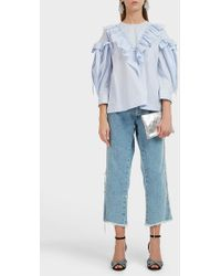 Simone Rocha Striped Frill Sleeve Cotton Top - Blue