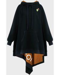 Monse Asymmetric Jersey Hoodie - Black