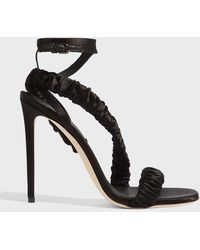 Marco De Vincenzo Ruched Strap Sandals - Black