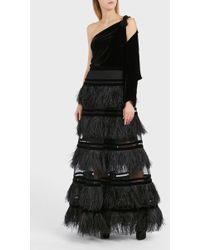 Elie Saab Feather Tiered Maxi Skirt - Black
