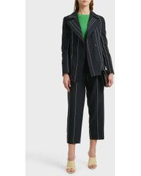Cedric Charlier Striped Linen And Cotton-blend Blazer - Black