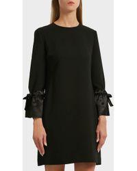 Victoria, Victoria Beckham - Silk-trimmed Crepe Shift Dress, Uk10 - Lyst