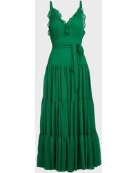 Alexis Tasha Ruffled Chiffon Maxi Dress - Green