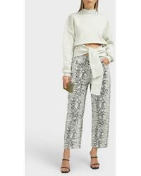T By Alexander Wang Python-print Cropped Jeans - Multicolour
