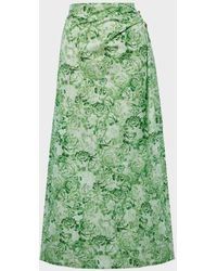 Ganni Floral-print Cotton-poplin Skirt - Green