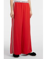 Vivetta - Embroidered Jersey Wide-leg Trousers - Lyst