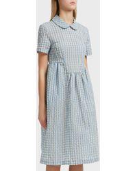Shrimps - Chequered Print Dress, Size Uk8, Women, Blue - Lyst