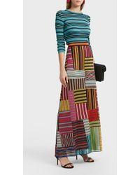 Missoni Metallic Striped Ribbed-knit Top - Red