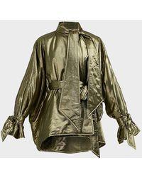 Roland Mouret Albertin Tie-detailed Lurex Jacket - Green