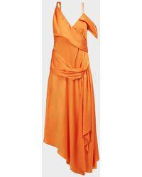 Jonathan Simkhai Asymmetric Draped Satin Maxi Dress - Orange