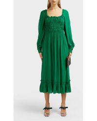 Proenza Schouler Square-neck Crepe Chiffon Dress - Green