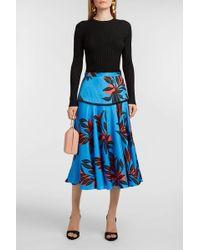 ROKSANDA Fringed Printed Silk-twill Skirt - Blue