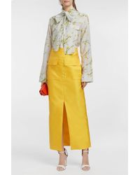Merchant Archive Pussy-bow Floral-print Cotton And Silk-blend Blouse - Yellow