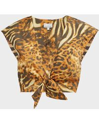 Miguelina Marcy Cheetah Tie-up Crop Top - Metallic