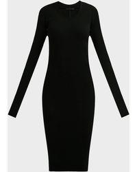 Helmut Lang Crewneck Long-sleeve Rib-knit Dress - Black