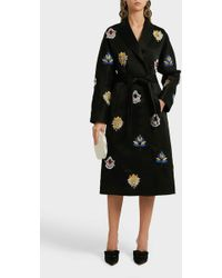 OSMAN - Margaux Embroidered Satin Coat - Lyst