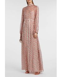 Rochas - Lace-trimmed Floral-print Silk-chiffon Gown, It48 - Lyst