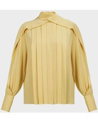The Row Gilia Draped Silk-georgette Blouse - Yellow
