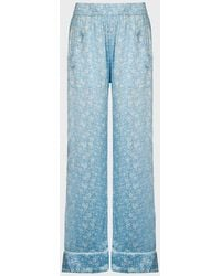 Ganni Floral Silk-satin Pants - Blue