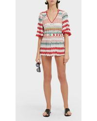 Missoni Chevron-patterned Woven Playsuit - Red