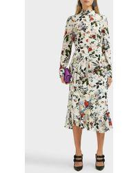 Erdem Roselia Floral-print Silk Skirt - Multicolour