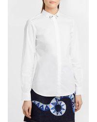 Maison Labiche - Embroidered Cotton-poplin Shirt, Size Xs, Women, White - Lyst