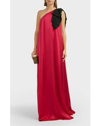 Andrew Gn - One-shoulder Bow-detail Silk Dress - Lyst