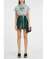 Courreges Logo Short Sleeve Cropped Hoodie - Multicolor