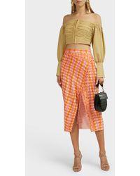 Altuzarra Cicero Checked Silk Midi Skirt - Orange