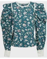 Isabel Marant Celwood Floral Cotton Blouse - Blue