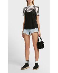 T By Alexander Wang - Cutout Back Linen-blend T-shirt - Lyst