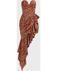 Rasario Asymmetric Leopard-print Mini Dress - Multicolour