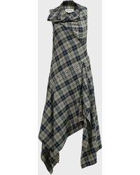 Monse Plaid Asymmetrical Midi Dress - Multicolor