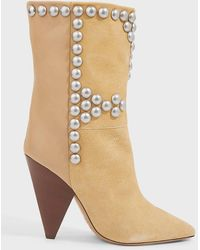 Isabel Marant Layo Point-toe Leather Boots - Natural