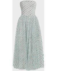 Rasario Sequined Tulle Corset Midi Dress - Multicolor