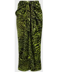 Ganni Tiger-print Knotted Midi Skirt - Green