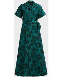 Erdem Cypress Belted Floral-jacquard Midi Shirtdress - Green