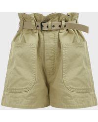 Étoile Isabel Marant Rike High-rise Belted Shorts - Green