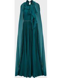 Jenny Packham Lisa Cape-back Chiffon Gown - Green