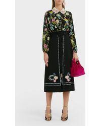 Vilshenko Ginny Floral Embroidered Lace-up Skirt - Black